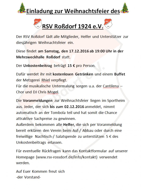 Rede Weihnachtsfeier Fussballverein.Willkommen Beim Rsv Roßdorf 1924 E V
